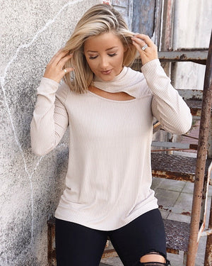 Oatmeal Softest Ever Ribbed Cut-Out Long-Sleeve