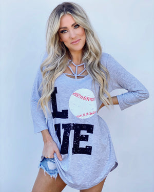 LOVE Baseball Gray Criss-Cross Flowy Tunic