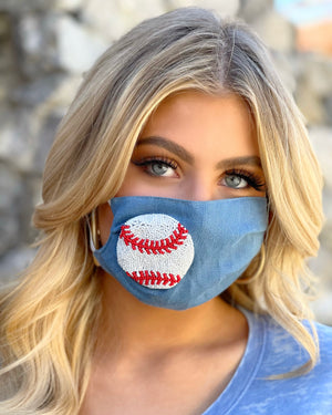 Baseball Hand-Beaded Adjustable Daily Face Cover (Ships May 1)