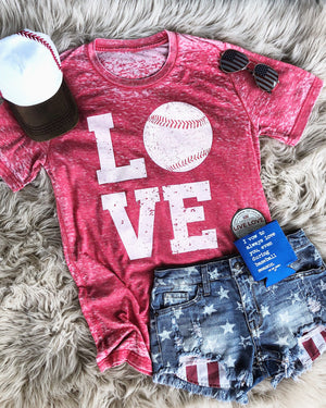 Baseball Love – Red Acid Wash Tee