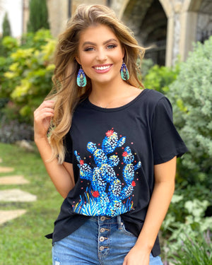 Black With Blue Cactus Graphic Tee