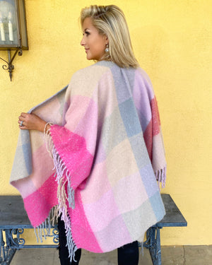 Blush Pink Super Soft Fringe Poncho