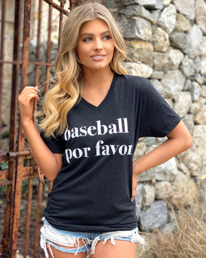 Vintage Black Baseball Por Favor Basic Tee