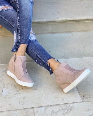 Faux Suede Wedge Sneaker (2 Colors)