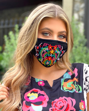 Black Colorful Embroidered Floral Mask