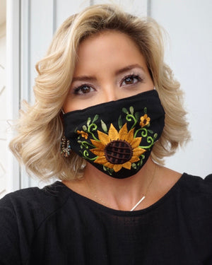 Golden Sunflower Embroidered Mask