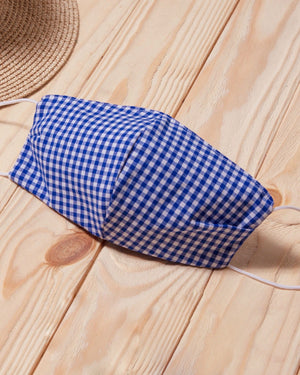 Blue Gingham Cotton Fitted Daily Face Cover
