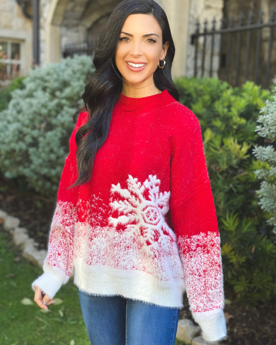 Super Soft Red Snowflake Sweater