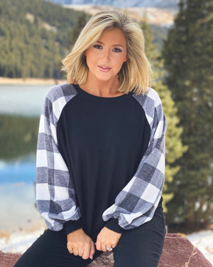 Black & White Cashmere-Feel Buffalo Plaid Hacci Knit Sweater (Regular & Plus Sizes Available)