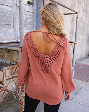 Faded Cinnamon Open-Back Crochet Long-Sleeve Top