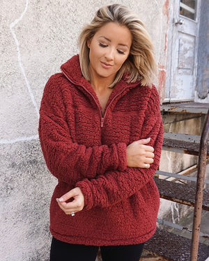 Burnt Rust Cozy Sherpa Zip Pullover With Pockets