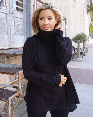 Black Lightweight Cozy Waffle Turtleneck