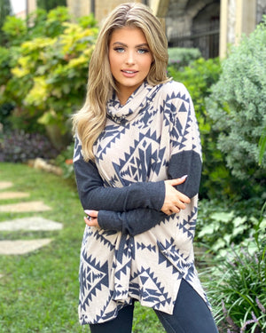 Plush Aztec Long-Sleeve Cowl-Neck Top