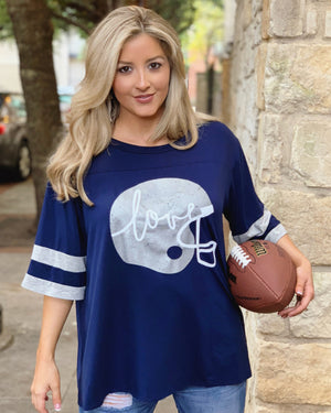 "Football – Metallic Silver Helmet – Oversized ""Super Soft"" Jersey Tee"