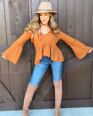 Caramel Ribbed Flowy Sweater Top