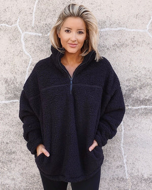 Black Cozy Sherpa Zip Pullover