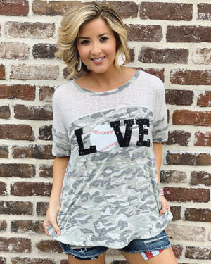 Baseball – LOVE – LIMITED EDITION Vintage Camo & Burnout Top (Also Available In Plus Size) - Live Love Gameday®