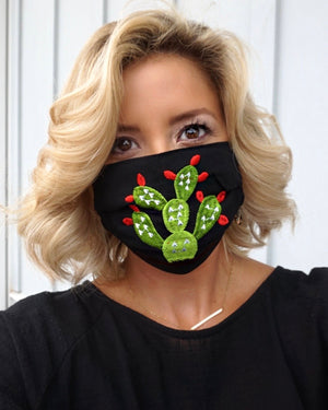 Black Cactus Embroidered Mask