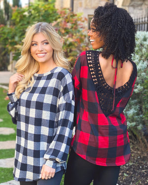 Taupe/Black Buffalo Plaid Tunic With Open-Back Crochet Detail