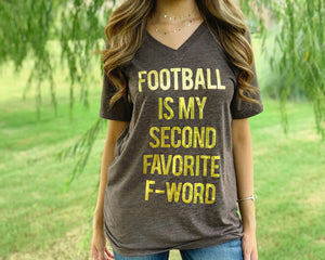 Football – GOLD Foil Football Is My Second Favorite F-Word – Comfy Vintage Brown & Gold V-Neck Tee