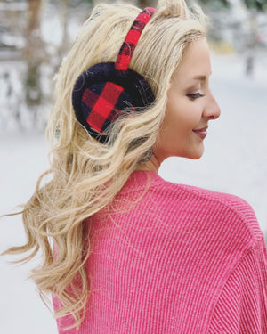 Red & Black Buffalo Plaid Faux Fur Earmuffs