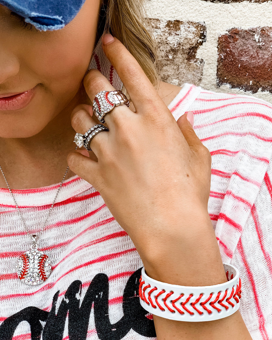 "Baseball ""Bling"" Stretchy Ring - Live Love Gameday®"