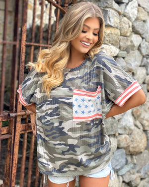 Ribbed Army Print & Vintage Flag Oversized Top