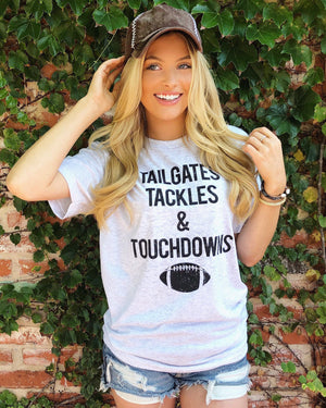 Football – Tailgates, Tackles & Touchdowns – Unisex Tee