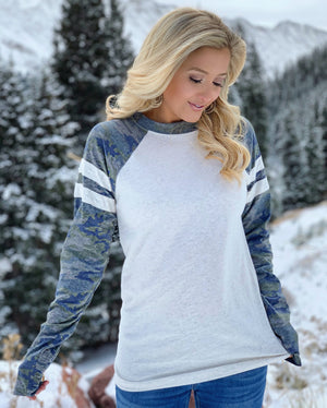 Top Seller: Unisex Winter White Camo Sleeve Long-Sleeve Jersey Tee