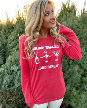 Holiday Workout Vintage Red Unisex Long-Sleeve Tee