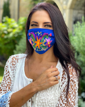 Blue Colorful Embroidered Floral Mask