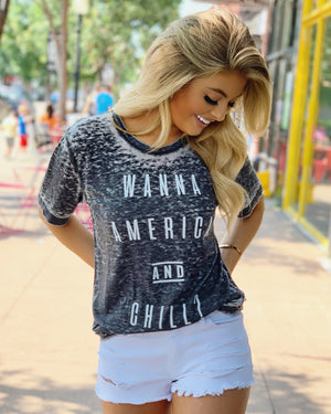 Wanna America And Chill Gray Acid-Wash Tee
