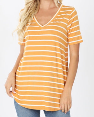 Mustard Super Soft Striped V-Neck Short-Sleeve Top (S-3XL)