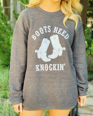 Country Tees For A Cause – Boots Need Knockin' – Oversized Ribbed Vintage-Washed Crew - Live Love Gameday®