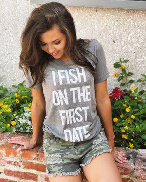 I Fish On The First Date – Gray V-Neck Tee