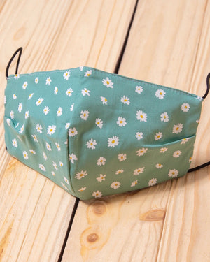 Aqua Daisy Cotton Fitted Daily Face Cover