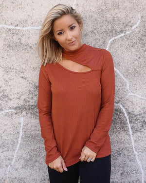 Rust Softest Ever Ribbed Cut-Out Long-Sleeve