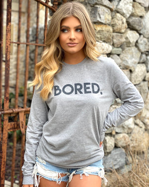 Bored Light Gray Unisex Suede Long-Sleeve Tee