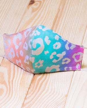 Blush/Aqua Neon Leopard Daily Face Cover With Filter Slot