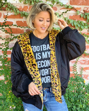 Black Oversized Reversible Animal Print Zip-up Jacket - Live Love Gameday®