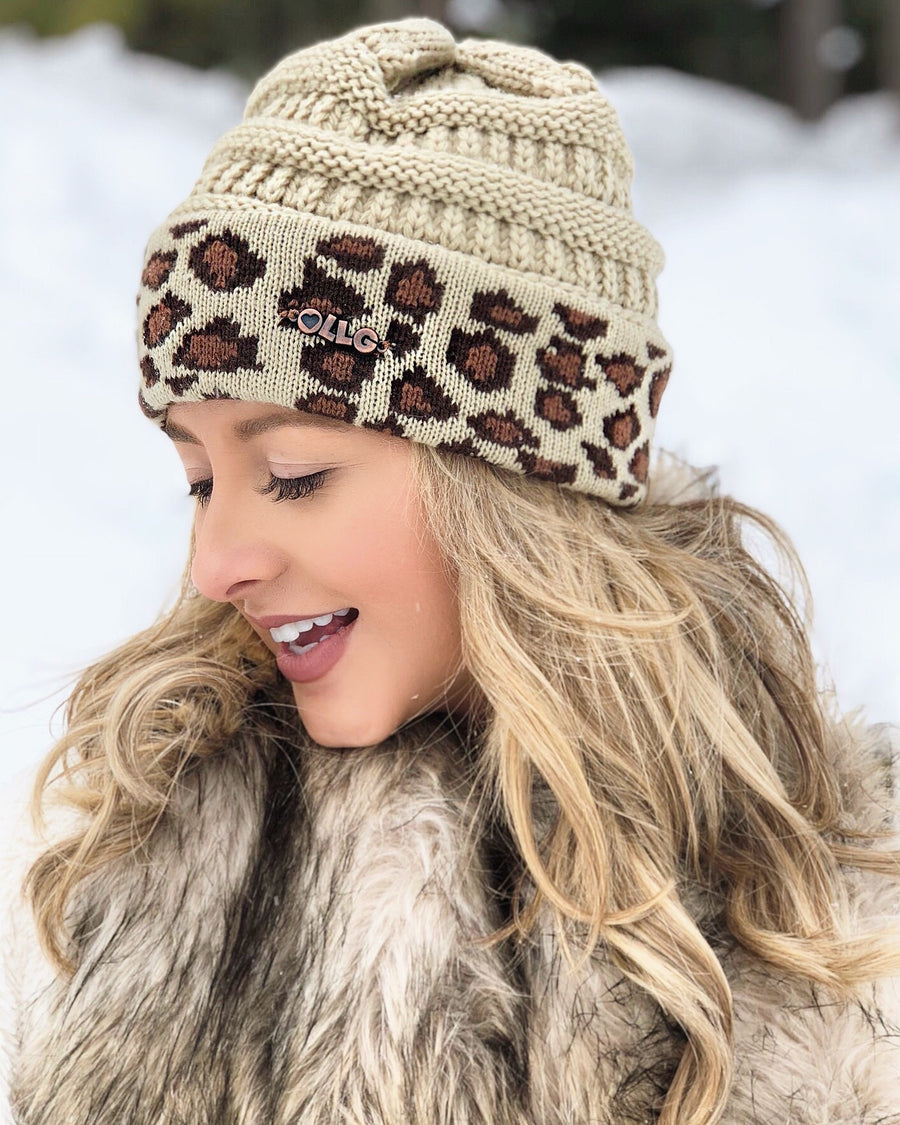 Live Love Gameday® Knit Vintage Leopard Beanie – Without Pom