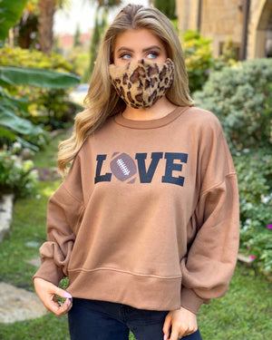"Football ""Love"" Across Brown Cropped Oversized Sweatshirt"