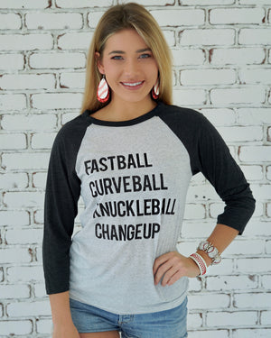 Fastball Curveball Knuckleball Changeup 3/4 Sleeve Unisex Tee