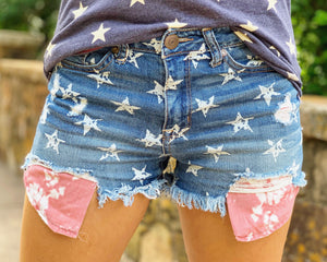 Dark Blue Denim High-Waisted Star Shorts With Tie-Dye Pockets