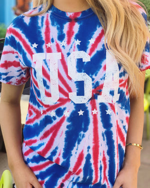 USA With Stars Tie-Dye Red, White & Blue Tee