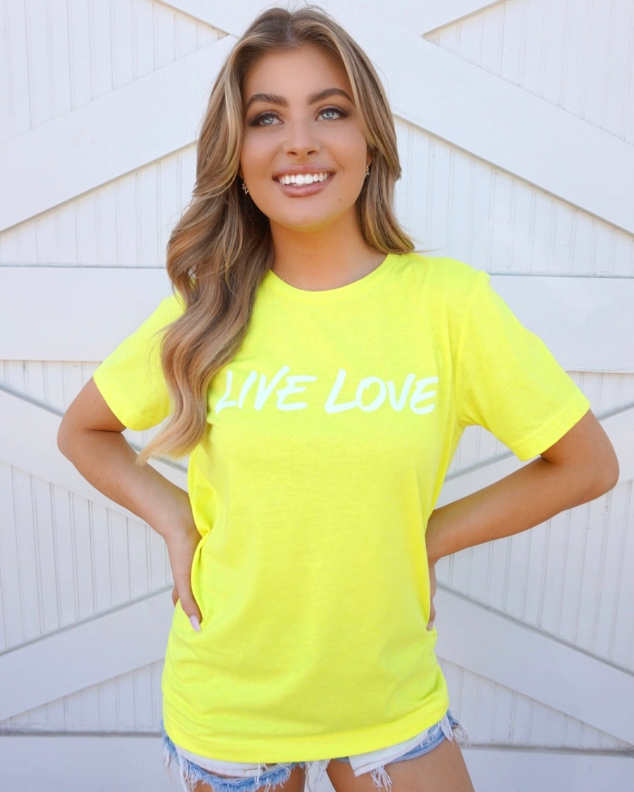 Live Love Neon Yellow Tee