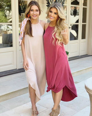 Modal Sandwashed Maxi Dress (Wine)
