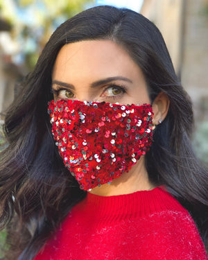 Red Sequin Cluster Daily Face Cover