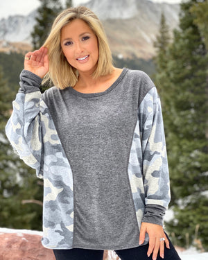 "Charcoal Army ""Softest Ever"" Hacci-Knit Camo Long-Sleeve"