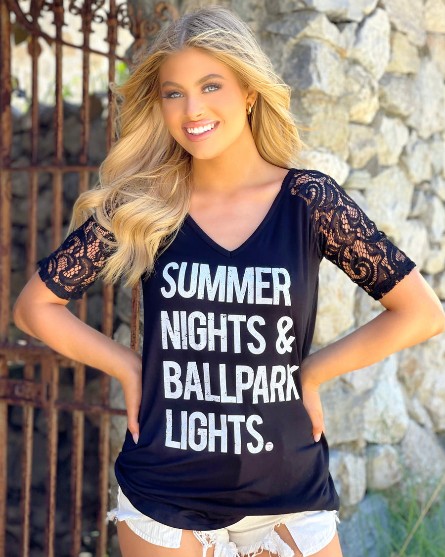 Black Lace-Sleeve Summer Nights Ballpark Light